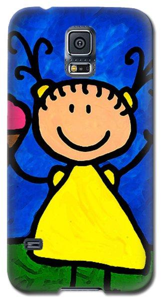 Ice Galaxy S5 Case - Happi Arte 3 - Little Girl Ice Cream Cone Art by Sharon Cummings