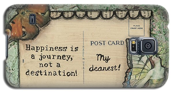 Happiness Is A Journey Inspirational Mixed Media Folk Art Galaxy S5 Case