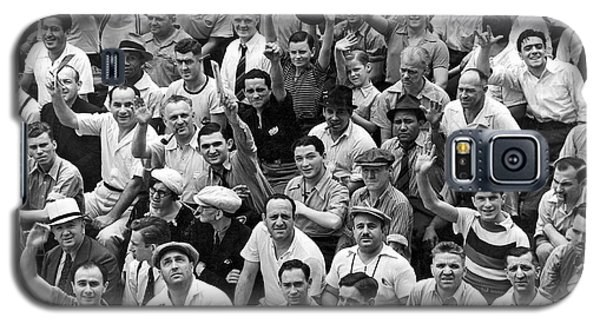 Happy Baseball Fans In The Bleachers At Yankee Stadium. Galaxy S5 Case by Underwood Archives