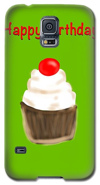 Galaxy S5 Case featuring the digital art Happy Bday W A Cherry On Top by Christine Fournier