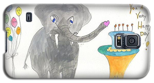 Galaxy S5 Case featuring the painting Happy Birthday From Elephoot by Helen Holden-Gladsky