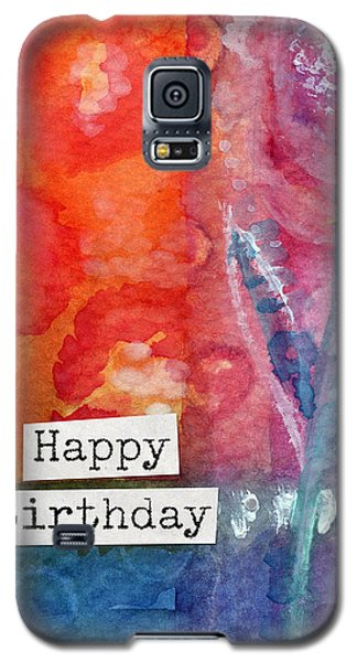 Card Galaxy S5 Case - Happy Birthday- Watercolor Floral Card by Linda Woods