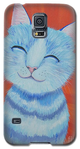 Galaxy S5 Case featuring the painting Happy Cat by Mary Scott