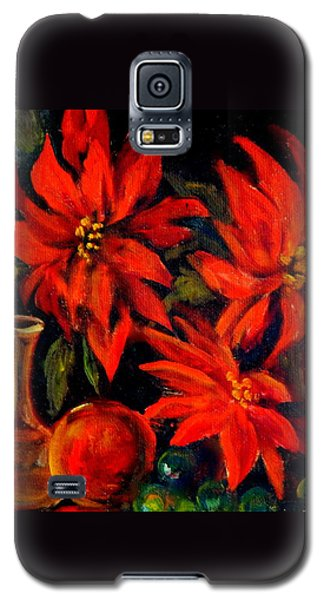 New Orleans Red Poinsettia Oil Painting Galaxy S5 Case