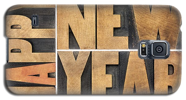 Happy New Year In Wood Type Galaxy S5 Case