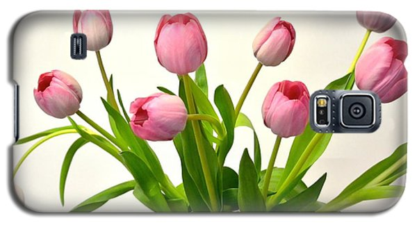 Galaxy S5 Case featuring the digital art Happy Spring Pink Tulips 2 by Jeannie Rhode