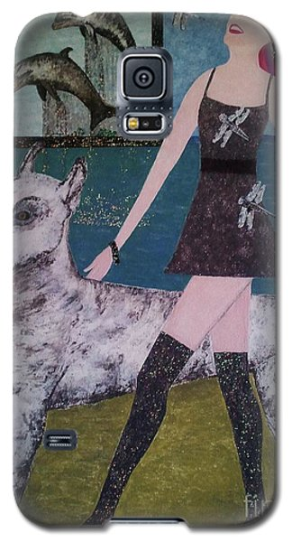 Galaxy S5 Case featuring the painting Happy Walk By Jasna Gopic by Jasna Gopic