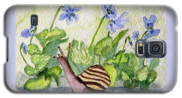 Galaxy S5 Case featuring the painting Harold In The Violets by Angela Davies