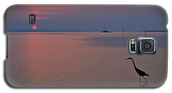 Galaxy S5 Case featuring the photograph Harry The Heron Fishing On Santa Rosa Sound At Sunrise by Jeff at JSJ Photography