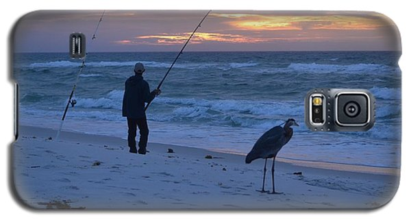 Galaxy S5 Case featuring the photograph Harry The Heron Fishing With Fisherman On Navarre Beach At Sunrise by Jeff at JSJ Photography