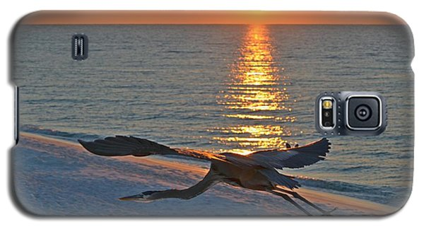 Galaxy S5 Case featuring the photograph Harry The Heron Takes Flight To Reposition His Guard Over Navarre Beach At Sunrise by Jeff at JSJ Photography