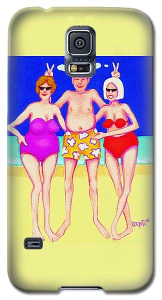 Funny Beach Women Man  Galaxy S5 Case by Rebecca Korpita