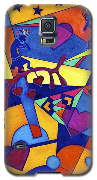 Galaxy S5 Case featuring the painting Harvesting The Love Kokopelli Art  by Lori Miller