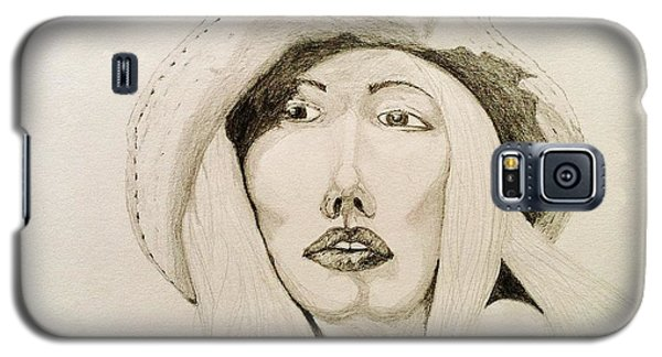 Galaxy S5 Case featuring the drawing Hat Girl 007 by Rand Swift