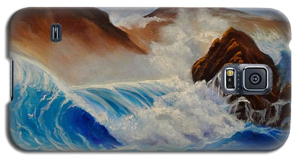 Galaxy S5 Case featuring the painting Hawaii On The Rocks by Jenny Lee