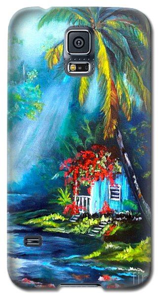 Galaxy S5 Case featuring the painting Hawaiian Hut In The Mist by Jenny Lee