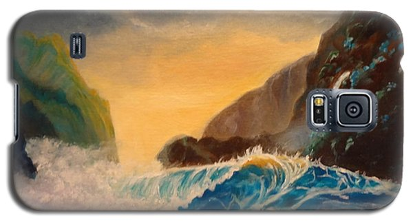 Galaxy S5 Case featuring the painting Hawaiian Turquoise Sunset   Copyright by Jenny Lee