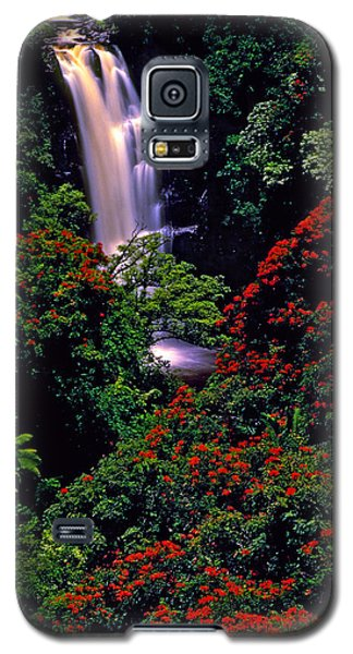 Hawaiian Waterfall With Tulip Trees Galaxy S5 Case by Marie Hicks