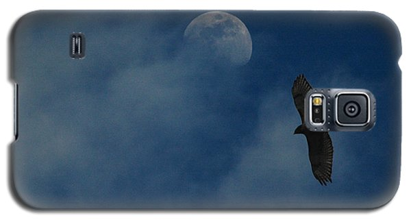 Galaxy S5 Case featuring the photograph Hawk And Moon Coming Out Of The Mist by Raymond Salani III
