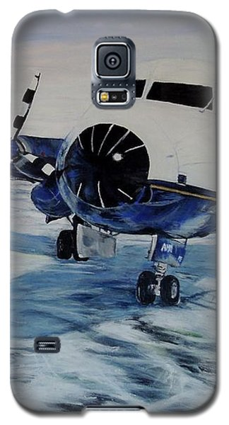 Galaxy S5 Case featuring the painting Hawker - Airplane On Ice by Marilyn  McNish