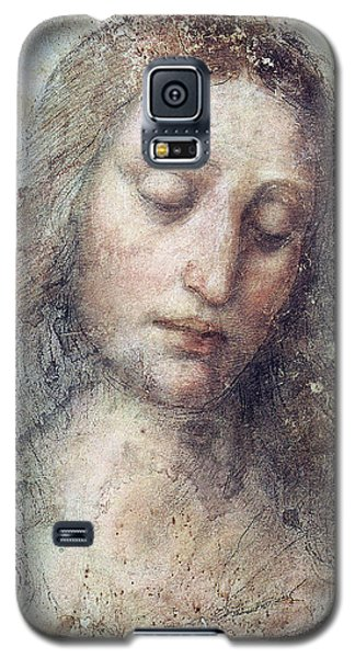 Galaxy S5 Case featuring the drawing Head Of Christ Restoration Art Work by Karon Melillo DeVega