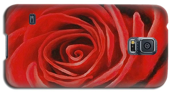 Galaxy S5 Case featuring the painting Heart Of A Red Rose by Sophia Schmierer