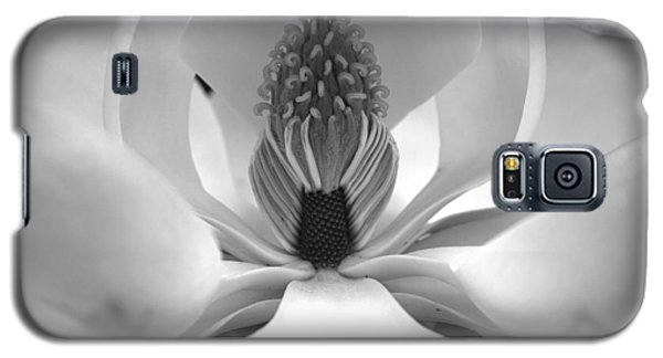 Galaxy S5 Case featuring the photograph Heart Of The Magnolia Black And White by Andy Lawless