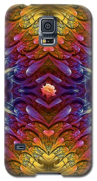 Galaxy S5 Case featuring the digital art Hearts And A Flower by Lea Wiggins