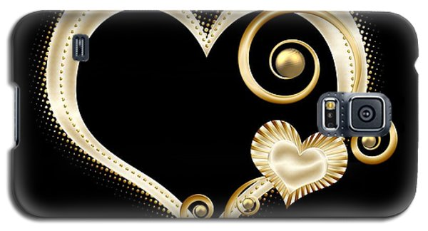Hearts In Gold And Ivory On Black Galaxy S5 Case