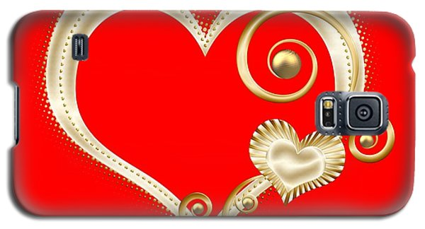 Hearts In Gold And Ivory On Red Galaxy S5 Case
