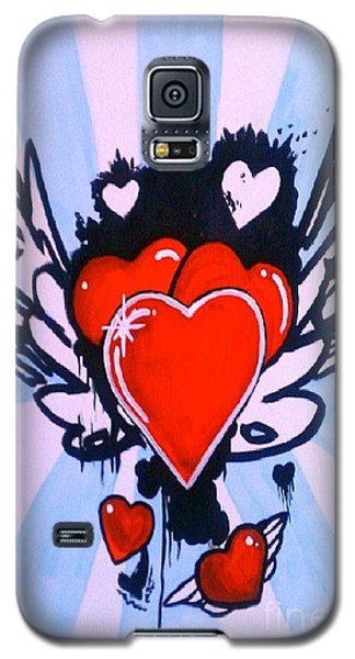 Galaxy S5 Case featuring the painting Hearts by Marisela Mungia
