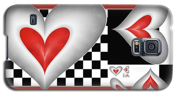 Galaxy S5 Case featuring the digital art Hearts On A Chessboard by Gabiw Art