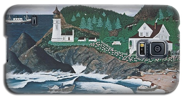 Galaxy S5 Case featuring the painting Heceta Lighthouse by Jennifer Lake