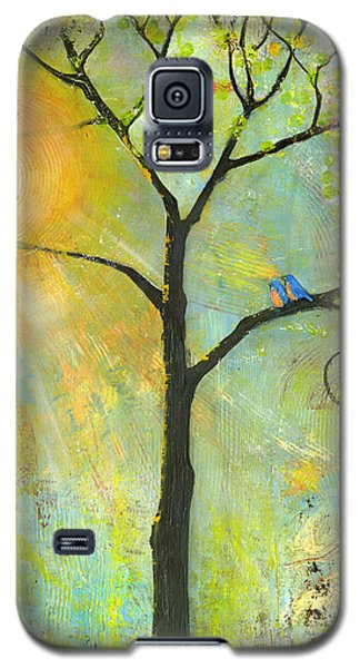 Hello Sunshine Tree Birds Sun Art Print Galaxy S5 Case
