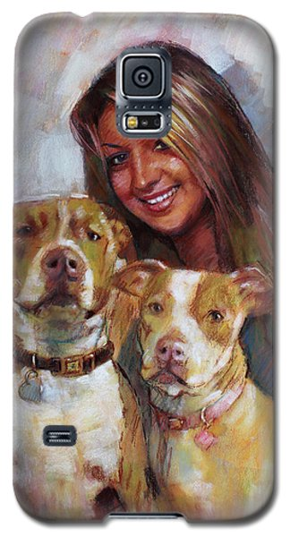 Galaxy S5 Case featuring the drawing Her Best Friends by Viola El