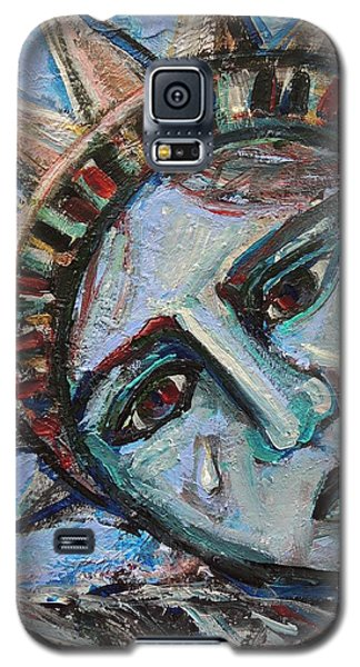Galaxy S5 Case featuring the painting Her Tear by Mary Schiros