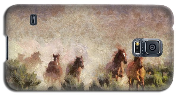 Galaxy S5 Case featuring the painting Herd Of Wild Horses by Georgi Dimitrov