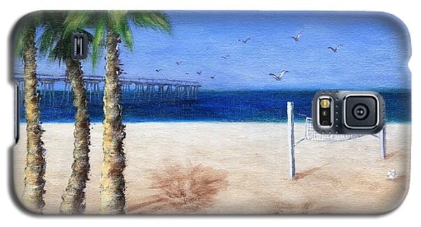 Galaxy S5 Case featuring the painting Hermosa Beach Pier by Jamie Frier