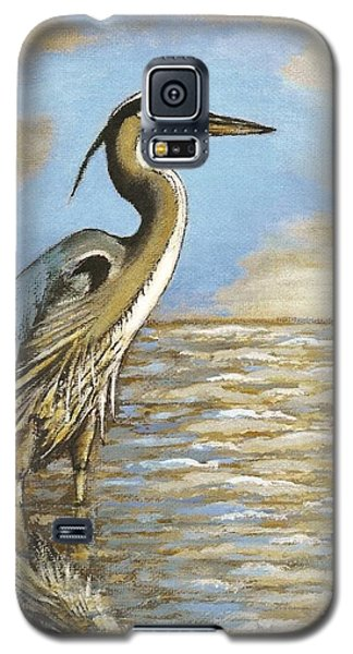 Galaxy S5 Case featuring the painting Heron At Bay by VLee Watson