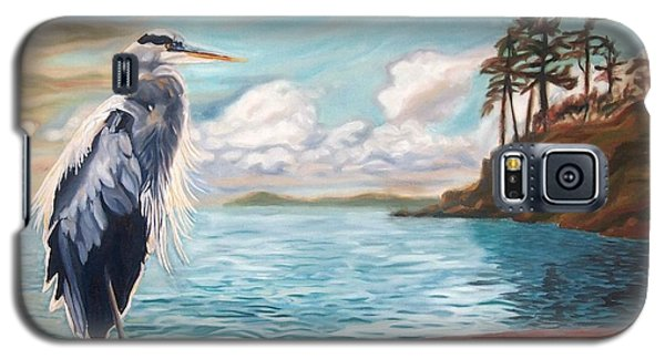 Galaxy S5 Case featuring the painting Heron Mystique by Janet McDonald