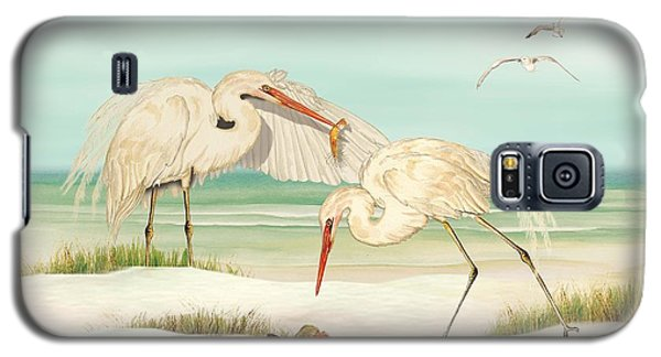 Galaxy S5 Case featuring the painting Herons Fishing by Anne Beverley-Stamps