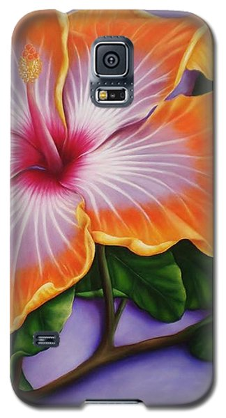 Galaxy S5 Case featuring the painting Hibiscus by Paula L