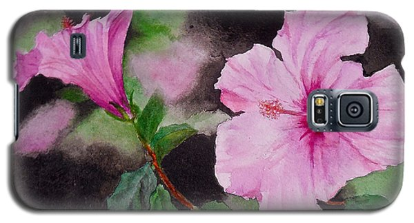 Galaxy S5 Case featuring the painting Hibiscus - So Pretty In Pink by Sher Nasser