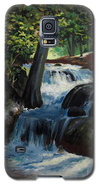 Galaxy S5 Case featuring the painting Hidden Waterfall 2 by Carol Hart