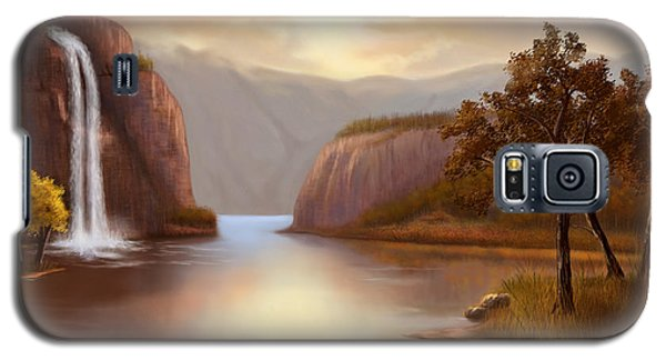 Galaxy S5 Case featuring the painting Hideaway In The Mountains by Sena Wilson
