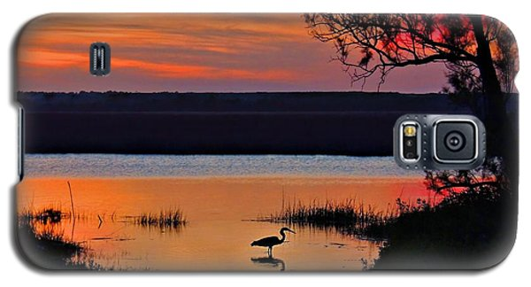 Galaxy S5 Case featuring the photograph High Tide Heron by Laura Ragland