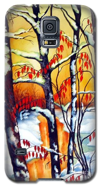 Galaxy S5 Case featuring the painting Highland Creek Sunset 2  by Inese Poga