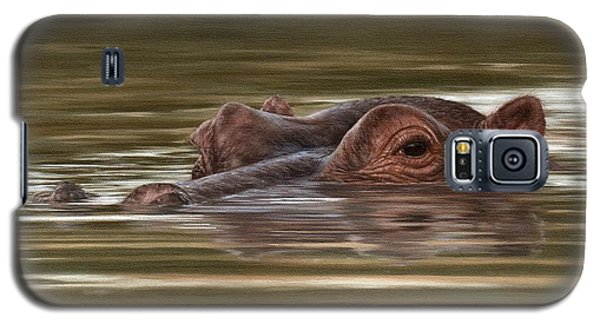 Hippo Painting Galaxy S5 Case by Rachel Stribbling