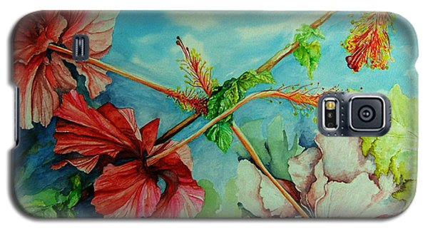 Galaxy S5 Case featuring the painting Hiroko's Hibiscus 3 by Rachel Lowry