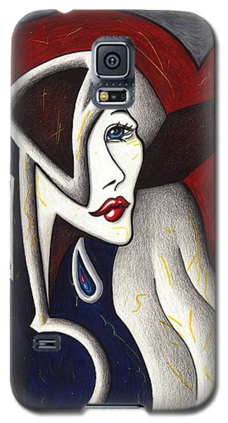 Galaxy S5 Case featuring the drawing His Absence And Pain's Piercing Presence by Danielle R T Haney